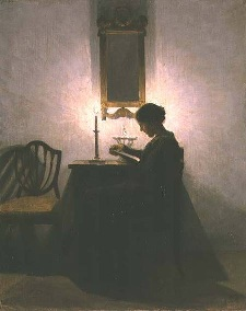 Sure, reading we like. Small talk? Eh, not so much. (Painting: Woman Reading by Candlelight by Peter Vilhelm Ilsted)